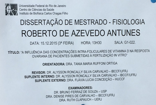 Dr. Roberto defende tese de Mestrado